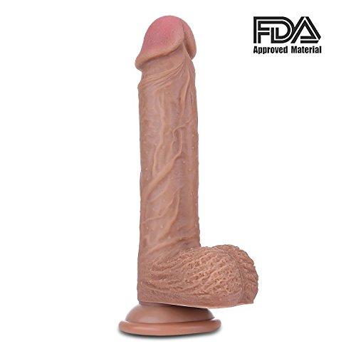 Realistischer Dildo als Sexspielzeug für Frau - Lamantt 8.7 Zoll Zwei Layer Silikon Dildo mit starkem Saugnapf (FDA Genehmigt Material, 22 cm lang Ø 4 cm)