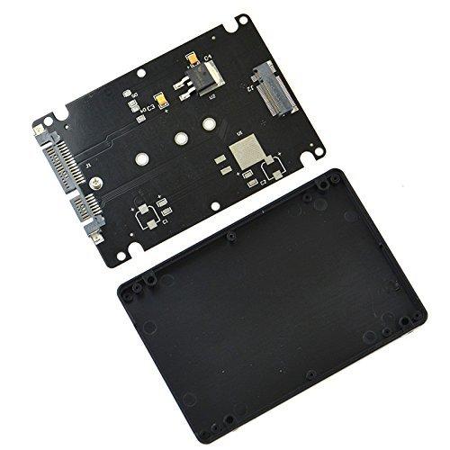 Pxyelec NGFF M.2 SSD Solid State Drive auf 2,5 Zoll SATA 7+15-Pin Adapterkarte mit Gehäuse, Schwarz -