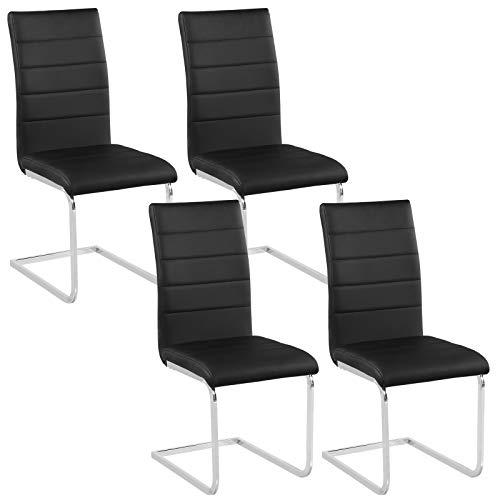 Woltu bh84sz-4 set di sedie a sbalzo per sala da pranzo sgabello con schienale ecopelle metallo sedia imbottita per cucina ristorante moderno neri 4 pezzi
