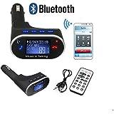 Goliton® mains libres voiture Bluetooth lecteur de musique MP3 sans fil Transmetteur FM Radio Modulator USB SD MMC Télécommande pour iPhone-Noir