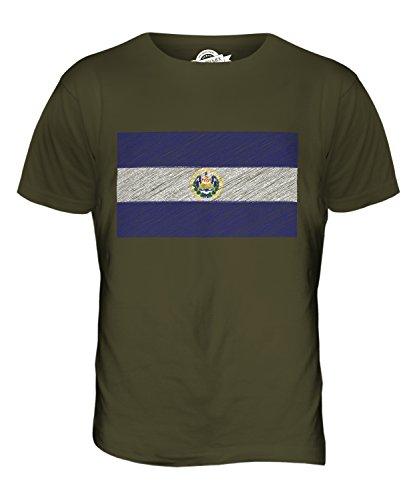 CandyMix El Salvador Kritzelte Flagge Herren T Shirt Khaki Grün