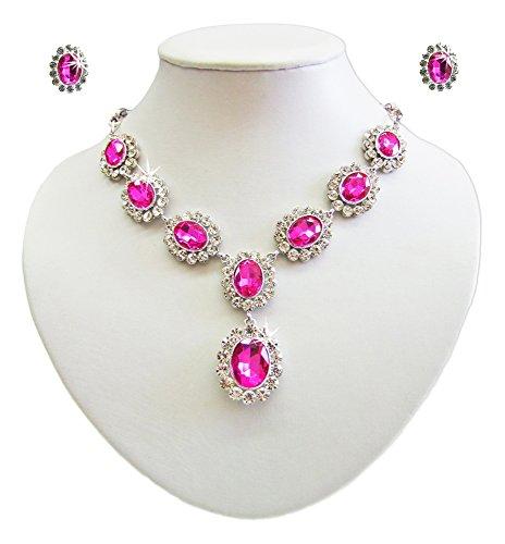 Preisvergleich Produktbild Barock Schmuck Set mit Schmucksteinen Pink - Schöne Collier Kette mit passenden Ohrsteckern für Damen zum Barok Gothic Kostüm oder für festliche Anlässe