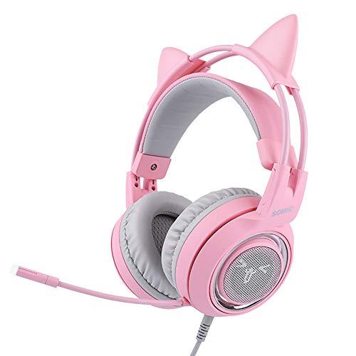 YSM Ps4 Wireless Headset mit Mikrofon, Sprachsteuerung mit Vibrationsfunktion Mikrofon, Geeignet für Desktop-Computer, Notebook PS4, Xbox (Cat Ear Pink)