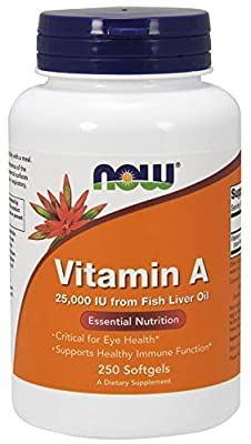 Now Foods Vitamin A, 25000 IU from Fish liver oil, 250 Soft-gels by now