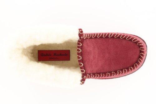 27902 - Andres Machado - Hausschuhe Knöchelhoch. Futter aus Lammwolle - Made in Spain Bordeaux