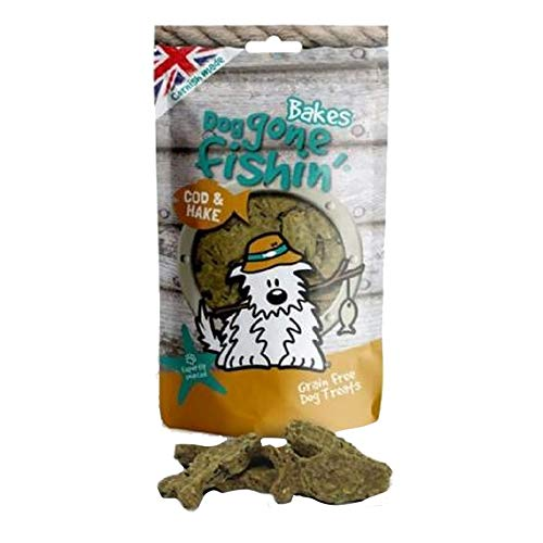 Dog Gone Fishin Kabeljau und Hecht Hunde Snacks (75g) (kann variieren) -