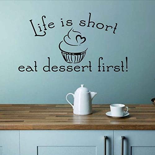 Life Is Short Eat Dessert First Word Quote Wall Stickers For Kitchen Wall Decor Vinyl Removable Art Wall Decal Dining Home Decor 23 * 42.cm