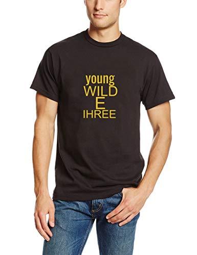 Kinder Custom Made T-shirt (T-Shirt Herren Sommer Oberteile Junges wildes und Three3rd Geburtstags-T-Shirt für Männer(Can Custom-Made Pattern) (Color : Schwarz, Size : M))