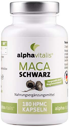 Maca Schwarz 4000 mg je Tagesdosis- 180 Maca Kapseln - Maca Extrakt vegan, hochdosiert und ohne Magnesiumstearat - Qualität made in Germany