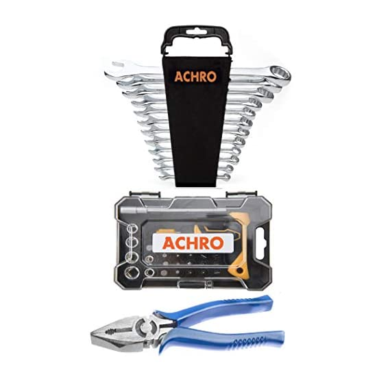 ACHRO 937 Tool Kit Set for Home/Garage/Industry Combination Spanner Set, Plier and Screwdriver Set (Pack of 37 Pieces Tool Kit Set for Home Use)