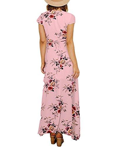 Aisuper Womens Short Sleeve V Neck Floral Split Front Cocktail Maxi Long Dress X-Large Pink