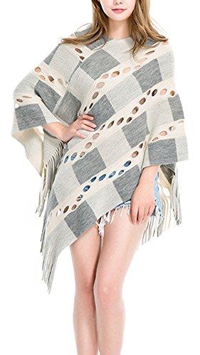 Donna Mantelle Hollow Out Poncho Pullover Maglioni Asimmetrico Irregolare Jumper Cappotti Bianco