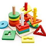 Nabhya Wooden Shape Sorting Puzzle Blocks Educational Toy to Learn Colours & Shapes (Geometric)