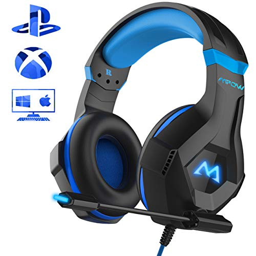 Mpow Gaming Kopfhörer für PC PS4 Xbox One, 7 Farbe RGB-LED Licht, Surround-Sound Gaming Headset mit Mikrofon, Super Leicht Headset Over-Ear-Gaming Kopfhörer für Computer Mac Handy Nintendo Switch (Gaming Headset Xbox Pc)