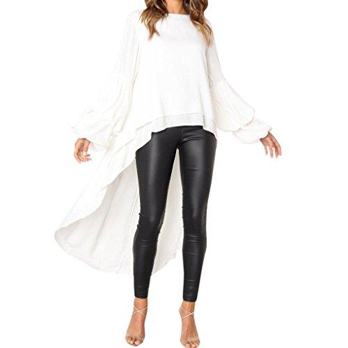 Langarmshirt Damen,Innerternet Damen Langarm Rundhals T-Shirt Tops Mode Asymmetrisch Hemd Bluse Elegant Rüschen Langarm Oversize Pullover...