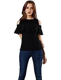 Aashish Fabrics Women's Black Ruffle Cold Shoulder Top