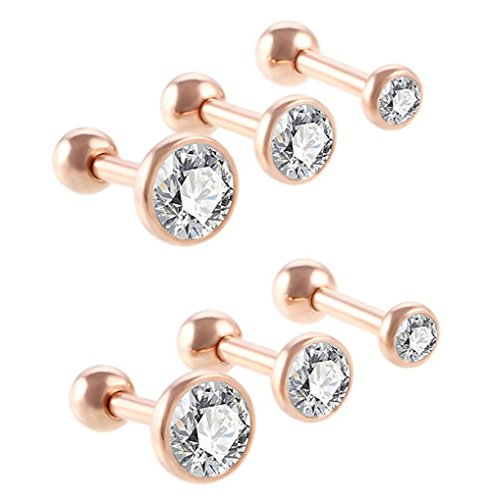 6 x 3 Damen-Ohrstecker in verschiedenen Größen, modisch, rund, Helix-Piercing für Tragus, Knorpel, Ohr One Size rose gold