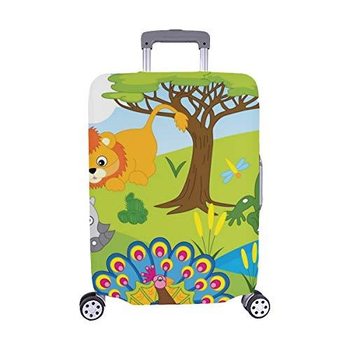 (Nur abdecken) Set Cartoon Safari Animals Set Spandex-Staubschutz Trolley Protector case Reisegepäck-Schutzkoffer-Abdeckung 28,5 X 20,5 Zoll (Safari Trolley)