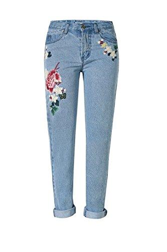 YACUN Damen Blumen Bestickt Knöchel Straight Jeans Jeanshosen Blue XL (Hose Bestickt Blume)