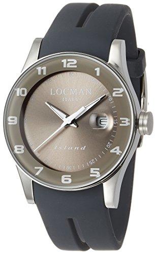 Locman Island / orologio uomo / quadrante grigio / cassa acciaio e titanio / cinturino silicone grigio