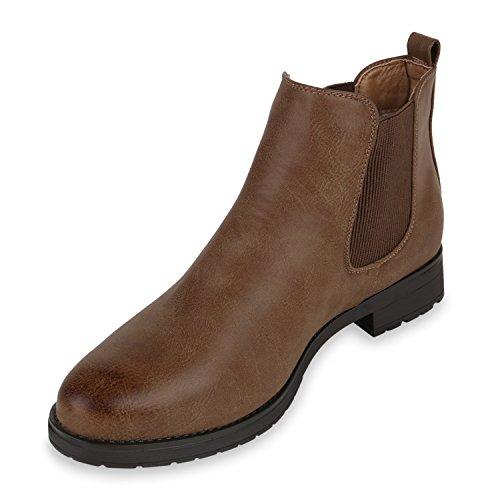 Gr 42 Lederoptik Braun Boots Stiefeletten 36 Damen Gefüttert Chelsea Klassisch gw8qEHYqC