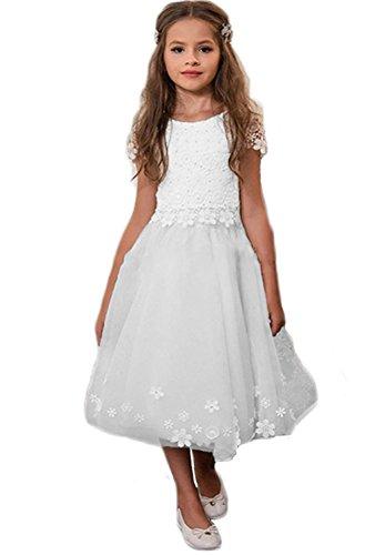 Aurora dresses Mädchen BlumenmädchenKleider Spitze Kinderkleid Kommunionkleid Hochzeitkleider Festzug Kleidung(Weiß,11-12 jahre) (Benutzerdefinierte Gemacht Kostüm Kinder)