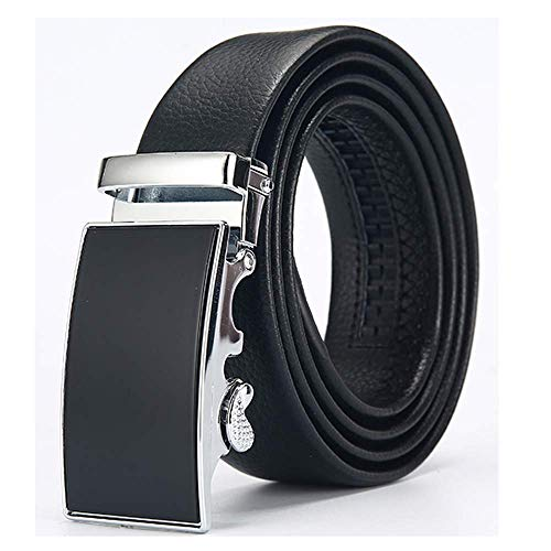 aoliaoyudonggha Men Automatic Genuine Leather Luxury Black Belt Men's Belts Automatic Buckle