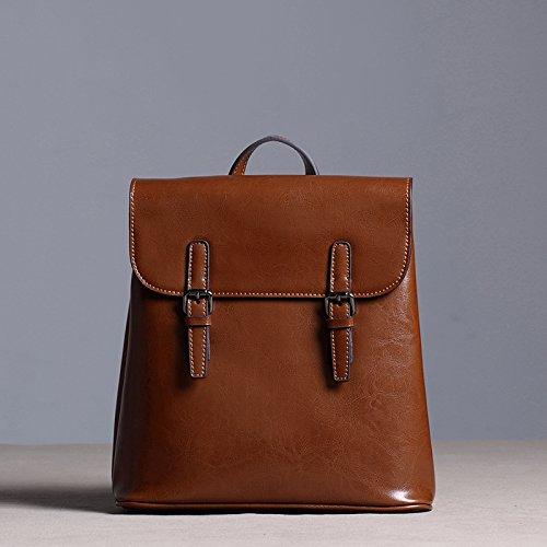 Sprnb Zaino in pelle donna borsa a tracolla in pelle Borsa casual, College vento,marrone Brown