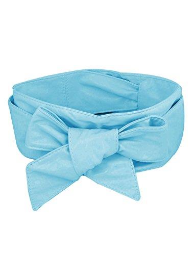 Generic Faux Leather Lady Corset Cinch Waistband Belt Strap Blue