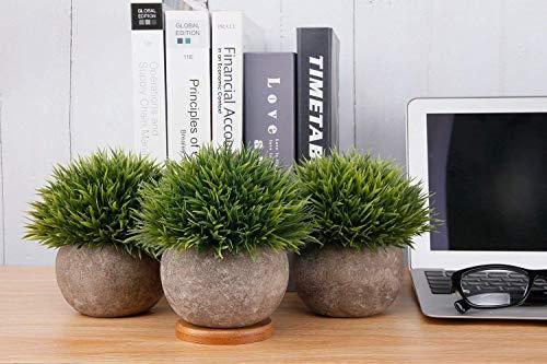 T4U Künstliche Grün Gras Bonsai Kunstpflanze mit grauen Topf, für Hochzeit/Büro/Zuhause Dekoration – 3er Set - 2