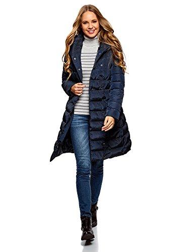 oodji Ultra Mujer Abrigo Acolchado con Botones a Presión y Cuello Voluminoso, Azul, ES 44 / XL