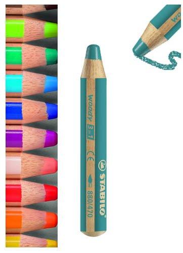 Woody 3 in 1 Pencils Einzelne Farben in Packungen mit 5 - Dark Green (Packung mit 5)