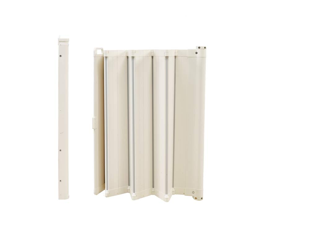 BabyDan Guard Me Auto Foldable Safety Guard 60214-5400-12-75  World innovation retractable safety gate in white PVC free plastic to fit openings from 55 - 89cm Auto Foldable - Automatically folds back when opened and fitted inside a door frame: 64.5 - 89 cm and fitted outside a door frame of  55 - 79.5 cm Safety gate for narrow to wide openings or where a conventional gate will not fit 5
