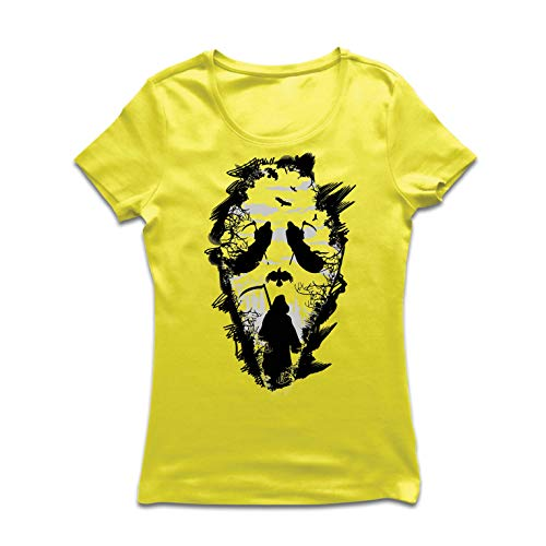 lepni.me Frauen T-Shirt Tribal Sensenmann Schrei - Tod gruselig beängstigend (Large Gelb Mehrfarben)