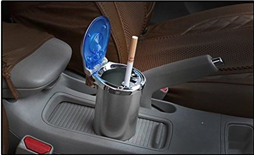 Ezip Designer Cigarette Car Ash Tray/Ashtray with Blue LED Light & Rainbow Colors for All Cars (Universal)