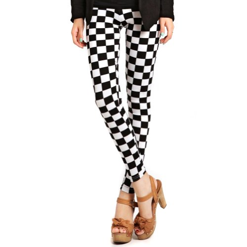 Black White Checkers Check Square Plaid Leggings. Celebrate the 2 Tone and Ska era.