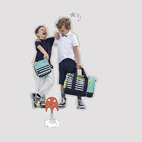 Lassig Borsa A Tracolla per Bambini, per Asilo o Tempo Libero con Mini Tasca Portaoggetti e Tasca con Zip, Moschettone e Targhetta Identificativa, Portabottiglie Integrato Messenger Bag, Funghetto, Mu Bouncing Bob