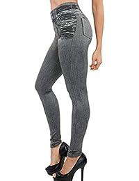 Onenight Mujeres Pantalón Moda Skinny Largo Pants Lápiz Pantalones Leggings  Casual Cintura Alta Jeans de Imitacion fc3df1056902