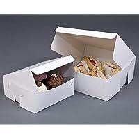 Juego de 50 cajas de cartón plegables para repostería, 200 x 200 x 75 mm