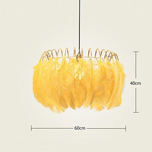 YY Wei?er Feder-kronleuchter Nordic Modernes Einfaches Wohnzimmer Schlafzimmer Warm Kreative Pers?nlichkeit Kinder 's Raum Kunst Lichter,Gelb (Er Mann Perücke)