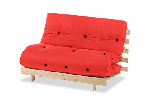 Humza Amani Wood Luxury 2 Seater Metro Futon Sofa Bed Frame with Futon Mattress Set - Red