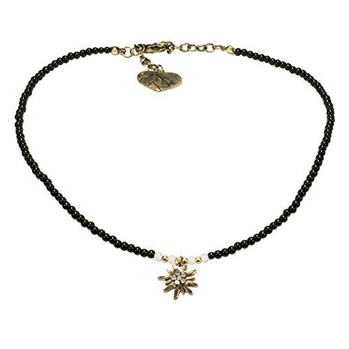 Alpenflüstern Filigran Perlen-Trachtenkette Strass-Edelweiß - Damen-Trachtenschmuck mit antik-gold-farbenem Edelweiss, Dirndlkette schwarz (Und Schwarz Gold Trachten Schmuck)
