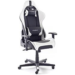 DX Racer6 Schreibtischstuhl mit Armlehnen, Gestell Kunststoff, 78x52x124-134 cm, schwarz/weiß