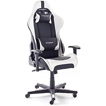 Robas Lund DX Racer 6 Gamingstuhl, Schreibtischstuhl, Bürostuhl, 78 x 52 x 124-134 cm, schwarz/weiß