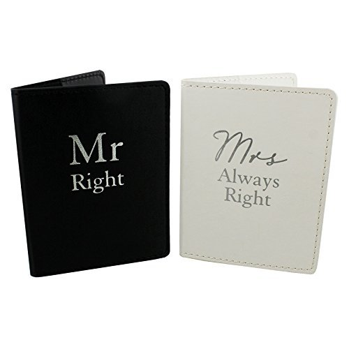 Amore Set of 2 Mr Right & Mrs Always Right Black and White Passport Holders Honeymoon by Amore
