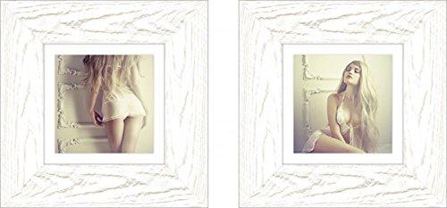 Artland Modell-Rahmen Wand-Bild gerahmt mit Motiv George Mayer Sinnliches Mädchen in klassischem Interieur I und II Liebe & Erotik Frau Creme 29,9 x 29,9 x 1,6 cm B3DA Mayer Restaurant