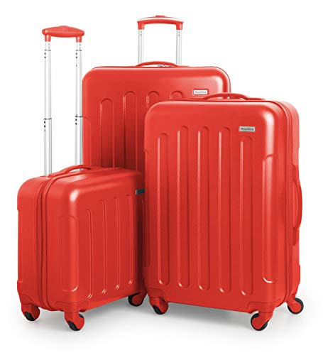 SUITLINE Kofferset, 3 Hartschalen-Trolleys - Kabinengepäck + mittelgroßer Koffer + großer Reisekoffer, Set di valigie 77 centimeters 185 Rosso (Rot)