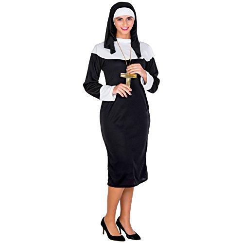 Disfraz de monja para mujer | Vestido negro largo con tocado de monja y cinturón (XL | no. 300361)