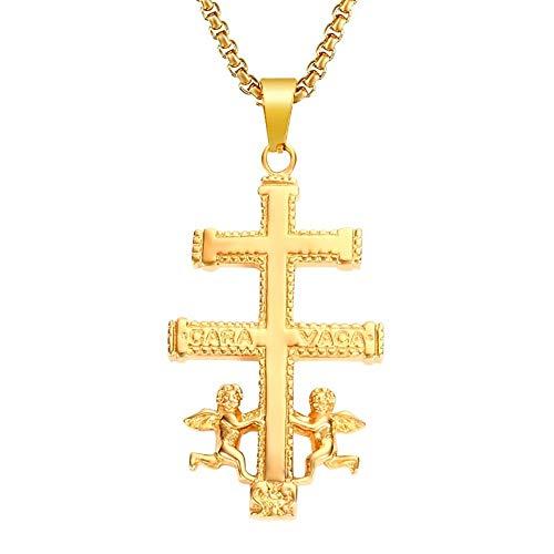 b5b7b3a22197 BOBIJOO Jewelry - Colgante Cruz de Caravaca de Protección de Acero  Inoxidable de Plata Chapado en