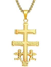 59fafe36feba BOBIJOO Jewelry - Pendentif Croix de Caravaca Protection Acier Inoxydable  Argenté Plaqué Or+Chaîne